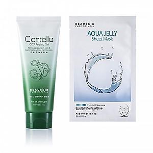 Combo Tẩy da chết tái tạo phục hồi da Beauskin Centella Cica và Mặt nạ cấp ẩm sâu Aqua Jelly Sheet Mask - Hàn Quốc Chính Hãng [QC-Tiki]