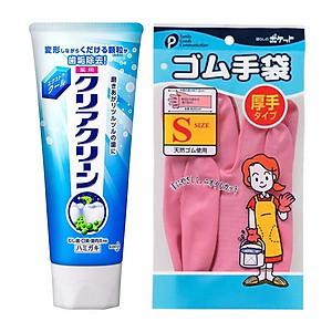Combo sản phẩm vệ sinh cá nhân: Kem đánh răng KAO + Găng tay cao su - Hàng nội địa Nhật [QC-Tiki]
