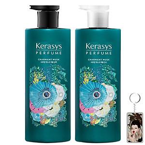 Cặp dầu gội xả nước hoa vani và xạ hương trắng Kerasys Charmant Musk Hàn Quốc 2x600ml tặng kèm móc khóa [QC-Tiki]