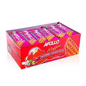 Bánh Bông Lan Giòn Dâu Apollo (18 Gói x 20g)