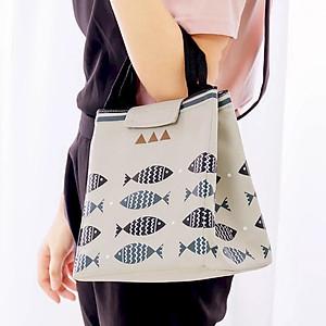 Túi đựng cơm, túi đựng thức ăn giữ nhiệt size lớn hình cá -màu trắng xám