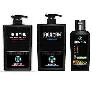 combo sữa tắm ironman humanity hero 650g + sữa tắm nhiệt ironman encounter 650g + dung dịch vệ sinh nam tinh chất thảo dược ironman 120g [QC-Tiki]