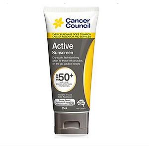 Kem chống nắng năng động Cancer Council Active SPF 50+/PA ++++ 35ml [QC-Tiki]
