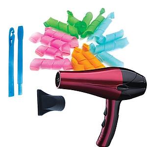 Máy sấy tóc 2 chiều nóng lạnh 2200W màu ngẫu nhiên + Tặng Bộ uốn tóc không dùng nhiệt [QC-Tiki]