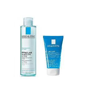 Nước tẩy trang làm sạch sâu dành cho da dầu nhạy cảm - La Roche-Posay Micellar Water Ultra Oily Skin 200ml + Gel rửa mặt tạo bọt làm sạch & giảm nhờn cho da dầu nhạy cảm La Roche-Posay 50ml [QC-Tiki]