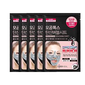 Combo 5 Mặt nạ sủi bọt thải độc làm sạch da và se khít lỗ chân lông Mediheal Mogongtox Soda Bubble Sheet 18ml x5