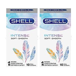 [20 Chiếc] Bộ 2 Hộp Bao Cao Su Hàn Quốc Shell Intense - Siêu Mỏng, Vòng Đeo Chống Tuột - Tomstore - 10 cái/ hộp [QC-Tiki]