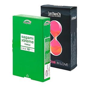 Bao cao su Sagami Extreme Type E hộp 10 cái và 1 hộp Bao cao su bi chấm vòng thắt kéo dài Tâm Thiện Chí Four In Love hộp 12 cái [QC-Tiki]