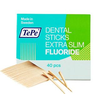 Tăm răng gỗ siêu mỏng có fluoride Tepe Wooden X-slim with Fluor (40 cái) [QC-Tiki]