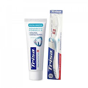 Kem Đánh Răng TRISA Revital Sensitive 75ml + Tặng Kèm Bàn Chải Đánh Răng TRISA Uno [QC-Tiki]