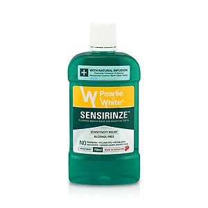 Nước súc miệng Singapore Pearlie White Sensirinze không chứa cồn ngăn ngừa mảng bám, sâu răng, chống hôi miệng dùng hàng ngày dành cho răng nhạy cảm - Xanh (750ml/chai) [QC-Tiki]