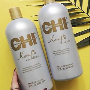Bộ dầu gội xả CHI Keratin Reconstructing Mỹ 946ml - Phục hồi tóc hư tổn [QC-Tiki]