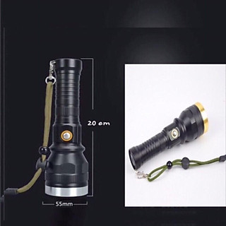 Đèn pin siêu sáng cầm tay đèn led -pro+ - k1 màu đen khích thước dài 20cm - hình 2