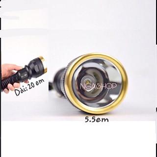 Đèn pin siêu sáng cầm tay đèn led -pro+ - k1 màu đen khích thước dài 20cm - hình 3