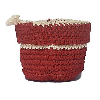 Giỏ nhựa đựng đồ đan tròn có móc xách treo tường đỏ trắng - hình 1