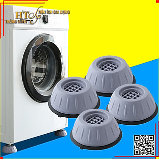 Combo 4 đế chống rung máy giặt + Sét 3 móc dán tường vàng tài lộc HT SYS - hình 1