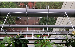 3 giỏ sắt  treo chậu hoa ban công hình chữ nhật - màu trắng - hình 1