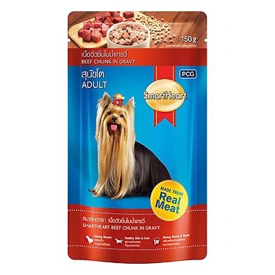 Đồ Ăn Cho Chó Vị Bò Miếng Nấu Xốt SmartHeart (Gói 130g)