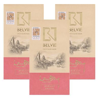 Bộ 3 Thanh Socola Đen Belvie - Lâm Đồng (70% Cacao) (80g/Thanh)