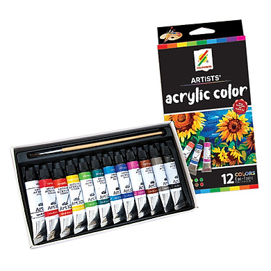 Hộp Giấy 12 Tuýp Màu Vẽ Acrylic CM-ACRYLIC-12P