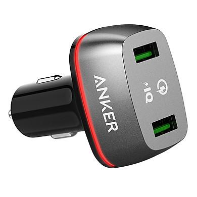 Adapter Sạc Xe Hơi 2 Cổng Anker PowerDrive+ 36W Hỗ Trợ Sạc Nhanh QC 2.0 - A2221011 (Đen) - Hàng Chính Hãng