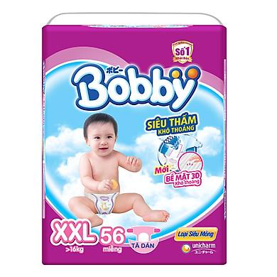Tã Dán Bobby Siêu Mỏng Gói Cực Đại XXL56 (56 Miếng)