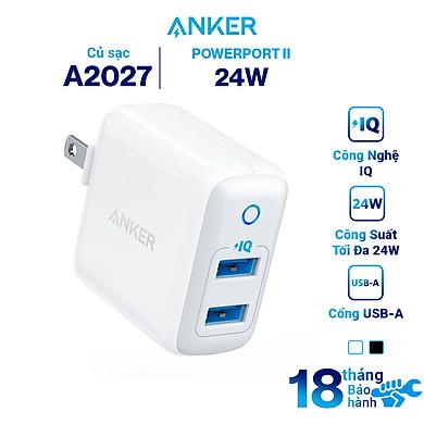 Adapter Sạc 2 Cổng Anker PowerPort II 24W – A2027 – Hàng Chính Hãng