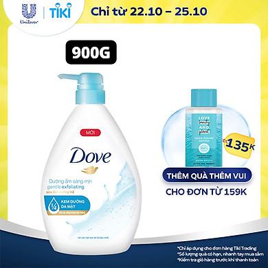 Single Sữa Tắm dưỡng thể 900g Dove Dưỡng ẩm sáng mịn Gentle Exfoliating với 1/4 kem dưỡng da mặt