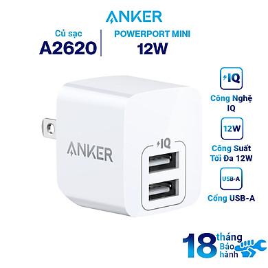Adapter Sạc 2 Cổng Anker PowerPort Mini 12W – A2620 – Hàng Chính Hãng