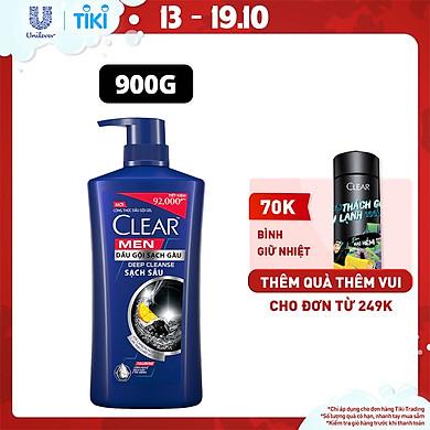 Dầu Gội Đầu cho nam 900g Clear Men Deep Cleanse Than hoạt tính đánh bay gàu, ngứa và vi khuẩn dưỡng tóc khỏi khói bụi