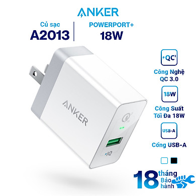 Adapter Sạc 1 Cổng Anker PowerPort+ 18W Tích Hợp PowerIQ Hỗ Trợ Sạc Nhanh QC 3.0 – A2013 – Hàng Chính Hãng