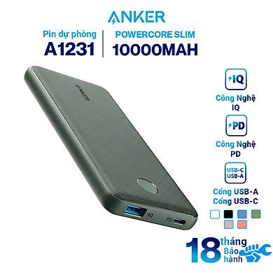 Pin Sạc Dự Phòng Tích Hợp Cổng USB Type-C In/Out Hỗ Trợ Power Delivery PD Anker PowerCore Slim PD 10000mAh – A1231 – Hàng Chính Hãng