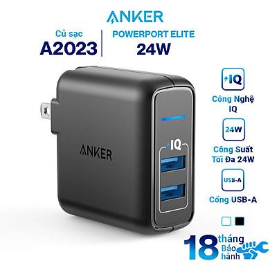 Adapter Sạc 2 Cổng Anker PowerPort Elite 24W – A2023 – Hàng Chính Hãng