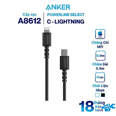 Dây Cáp Sạc USB-C to Lightning Chuẩn MFi Cho iPhone Anker PowerLine Select A8612 0.9m / A8613 1.8m – Hàng Chính Hãng