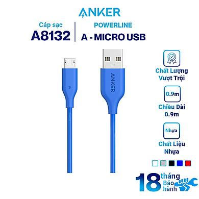 Dây Cáp Sạc Micro USB Anker PowerLine 0.9m – A8132 – Hàng Chính Hãng