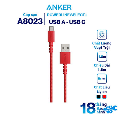 Dây Cáp Sạc USB Type-C Anker PowerLine Select+ A8022 0.9m / A8023 1.8m – Hàng Chính Hãng