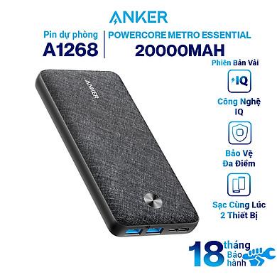 Pin sạc dự phòng ANKER PowerCore Metro Essential 20000 Hỗ Trợ Cổng Type-C In – A1268 – Hàng Chính Hãng