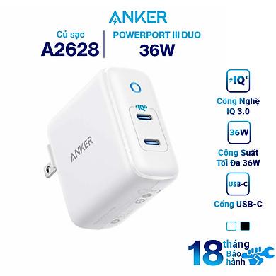 Adapter Sạc 2 Cổng USB Type-C Anker PowerPort III Duo 36W – A2628 – Hàng Chính Hãng