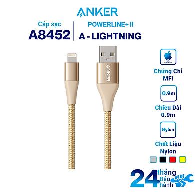 Dây Cáp Sạc Lightning Cho iPhone Anker Powerline+ II 0.9m (Không Kèm Bao Đựng) – A8452 – Hàng Chính Hãng