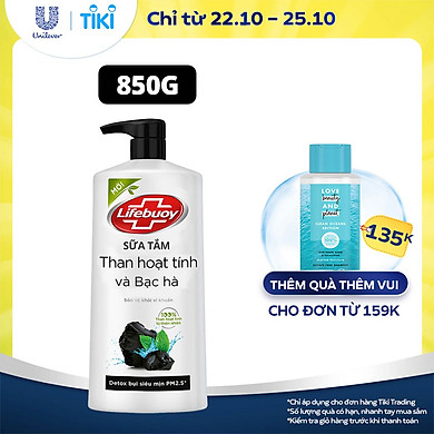Sữa tắm 850g Lifebuoy Detox và sạch sâu khỏi bụi mịn PM2.5 Bảo vệ khỏi vi khuẩn gây mùi cơ thể Than hoạt tính & Bạc hà Chiết xuất 100% Than hoạt…