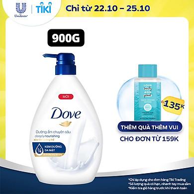 Single Sữa Tắm dưỡng thể 900g Dove Dưỡng ẩm chuyên sâu Deeply Nourishing với 1/4 kem dưỡng da mặt