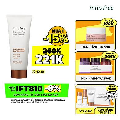 Sữa Rửa Mặt Làm Sáng Da 3 Trong 1 Innisfree Brightening Pore Facial Cleanser (150g)
