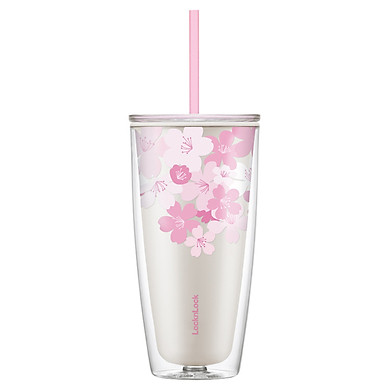 Ly Nhựa 2 Lớp LocknLock Double Wall Cold Cup Cherry Blossom 750ml HAP509