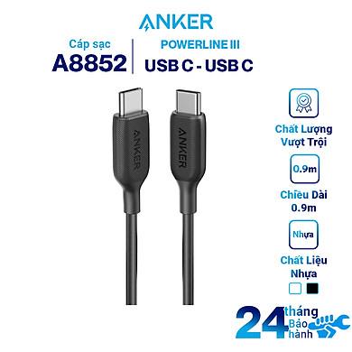 Dây Cáp Sạc Anker PowerLine III USB-C to USB-C 2.0 0.9m / 1.8m – A8852 / A8853 – Hàng Chính Hãng