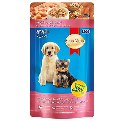 Đồ Ăn Cho Chó Nhỏ Vị Thịt Gà Miếng Nấu Xốt SmartHeart (Gói 130g)