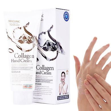 Kem dưỡng da tay Collagen Hàn Quốc cao cấp 3W Clinic Collagen Hand Cream (100ml) – Tặng 1 mặt nạ Jant Blanc