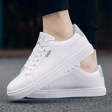 Giày thể thao nam đế bệt trắng cổ điển 2020 018 – trắng ghi – giày sneaker nam
