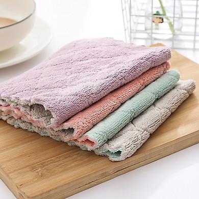 Bộ 10 khăn lau 2 mặt siêu thấm- Khăn lau không phai màu không rụng sợi- nhanh khô- Khăn lau bếp, khăn lau kính, lau bát lau tay