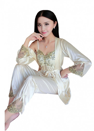 Bộ đồ mặc nhà, mặc ngủ tặng kèm áo choàng và dây đai