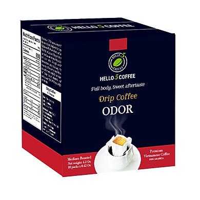 CÀ PHÊ PHIN GIẤY ODOR 12 GAM X 10 GÓI / HỘP- HELLO 5 COFFEE